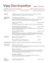 resume animation and creativity resume