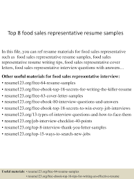 top8food srepresentativeresumesamples 150705142154 lva1 app6892 thumbnail 4 jpg cb 1436106161
