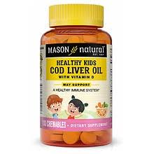 Mason Natural Kids <b>Cod Liver Oil</b> with Vitamin D <b>Chewable</b> Tablets ...