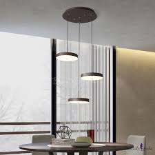 Brown <b>Finish</b> Round Shaped <b>LED</b> Pendant Ceiling Nordic <b>Modern</b> 3 ...