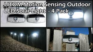 <b>LITOM</b> Motion Sensing Solar Powered <b>30</b> LED Outdoor Lights <b>4 Pack</b>