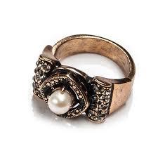 Широкое разъемное <b>позолоченное кольцо</b> с жемчугом и ...