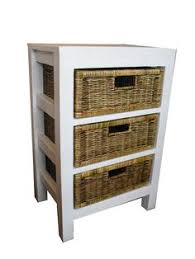white storage unit wicker: storage unit with wicker rattan baskets white shabby chic effect