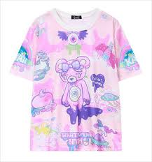 <b>New</b> Women's <b>Summer Harajuku Style</b> Pink Bear Cartoon Pattern ...