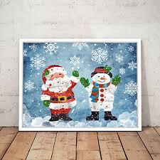 Father <b>Christmas</b> Decoration Snowman <b>Santa</b> Art Poster <b>Print</b> A3 A2 ...