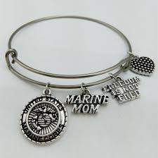 <b>My Shape</b> United States Marine Mom Charm Bangle <b>Stainless Steel</b> ...