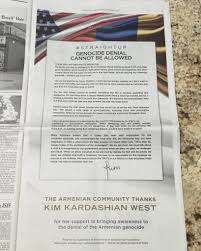 kim kardashian goes political and takes sweet revenge the ladies we have no existing family left in had they not escaped we wouldn t be here rdquo her ny times response ad begins more thrilling prose money