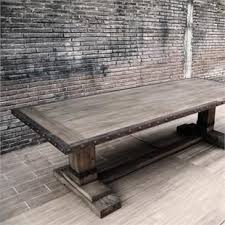trestle dining table farmhouse tables metro  iron edge industrial trestle dining table  special order in stock mid