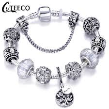 <b>CUTEECO</b> 925 <b>Fashion Silver</b> Charms Bracelet Bangle For Women ...