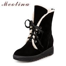 <b>Meotina Winter Snow Boots</b> Women Shoes Lace Up Wedge Heel ...
