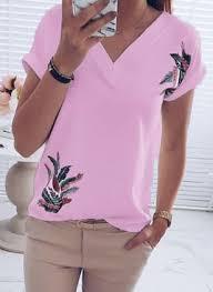 Floral Casual <b>V</b>-<b>Neckline Short Sleeve</b> Blouses - Floryday