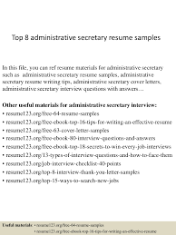 top8administrativesecretaryresumesamples 150331213558 conversion gate01 thumbnail 4 jpg cb 1427855804