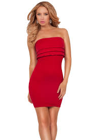 Fitted Bodice Dress Sexy Strapless Ruffled Tiers Bodice Slip On Fitted Bodycon
