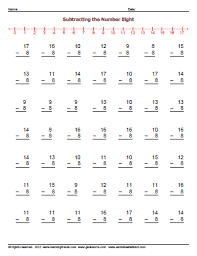 Subtracting by Eight Worksheets » WorkSheetsDirect.comSubtracting by 8 Worksheets