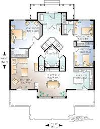 House plan W detail from DrummondHousePlans com st level Great Country Lake cottage       ceiling  open floor plan  large
