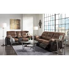 Two Loveseat Living Room Two Tone Faux Leather Double Reclining Loveseat W Console By