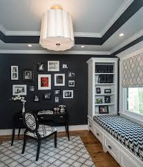 gorgeous black and white home office with window seat and a craft closet from awesome black white office design