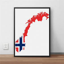restaurant wall decor p norway flag modern coated poster home decoration painting library coun
