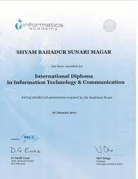 shyam bahadur sunari magar bayt com diploma international diploma in information technology and communication