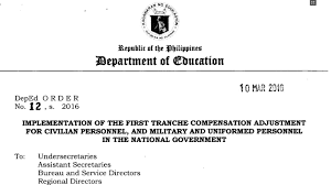 implementation of the first tranche compensation adjustment for implementation of the first tranche compensation adjustment for civilian personnel and military and uniformed personnel in the national government