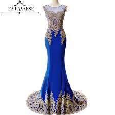 <b>Real Photo</b> Royal Blue <b>Long</b> Mermaid Evening Dresses 2019 <b>Sheer</b> ...