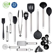 23 <b>Silicone Cooking Utensils</b> Kitchen Utensil set - Stainless Steel ...