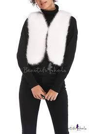 <b>Solid Color Design V-Neck</b> Open Front Short Shearling Vest Coat for ...