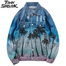 <b>Vintage Denim Bomber</b> Jacket Ripped Holes Sea Beach Coconut ...
