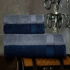 """<b>Набор из 4 полотенец</b> """"Аберден"""" Цвет: Серо-Голубой, Темно ..."""