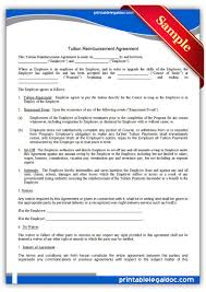 printable tuition reimbursement agreement template printable printable tuition reimbursement agreement template