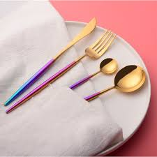Colorful Dinner Set Cutlery 304 Stainless Steel Western Style ...