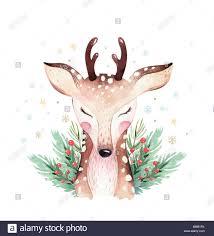 <b>Watercolor</b> cute cartoon animal portrait <b>design</b>. Winter holiday card ...