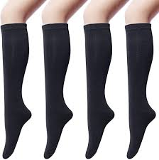 Senker 4 pairs Women's <b>Cotton Knee High</b> Socks, Casual Solid Knit ...
