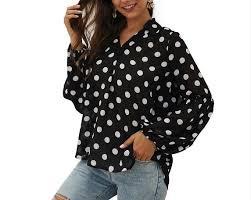 Women's Long Sleeve <b>Shirts</b> Polka Dot <b>Blouse</b> - XS on OpenSky ...