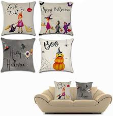 OFKPO 4PCS <b>Halloween</b> Cotton Linen Pillow Cover Sofa Home ...