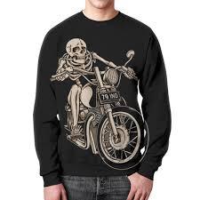 Свитшот мужской с полной запечаткой <b>Skeleton Biker</b> #1014336 ...