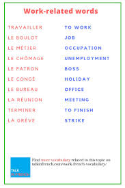 best images about french vocabulary list news 30 essential work related words in french