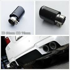 Car Glossy Real <b>Carbon Fiber</b>+Stainless Steel Inlet <b>54mm</b> Outlet ...