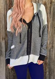 <b>Stylish Hooded Long Sleeve</b> Color Block Zip Up Hoodie For Women ...