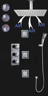 thermostatic brand bathroom: bathroom shower sets online sale germany air drop technology with  inch shower head massage spray jet bathroom thermostatic rainfall bath set faucet