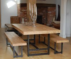 black kitchen dining sets: unstained wooden dining table with black polished iron based frame traditional bench and armless chair using