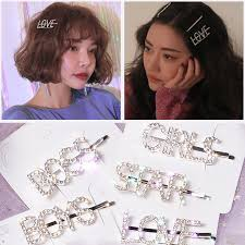 Women Letters Barrette <b>Hair Pins</b> Girls Korean INS <b>Fashion</b> ...
