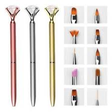 <b>10pcs Set</b> Nail Art Pen Brush Metal Crystal Replace Heads ...