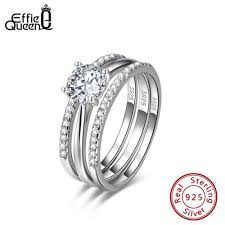 <b>Effie Queen 100</b>% <b>925</b> Sterling Silver Rings For Women With Round ...