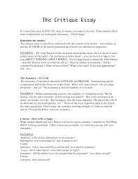 best photos of critique paper template   critique essay example    critique essay example