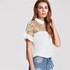 Floral Embroidered Shirt Women Casual Transparent Tops Trumpet ...