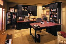 amusing design ideas of home office furniture with rectangle shape fancy black wooden mounted desk and amusing double office desk