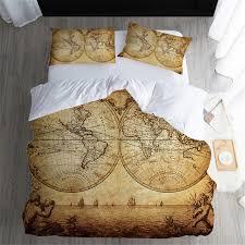 Vintage Ocean Navigation <b>Map Bedding Set</b> Duvet Cover Set Adult ...