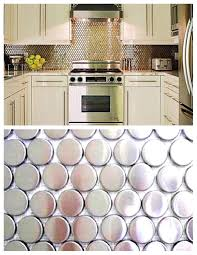 kitchen backsplash stainless steel tiles: fetching grey color metal entrancing metal tile kitchen backsplash penny round shape pattern backsplash white kitchen cabinets undermount kitchen sink cream marble countertop built in fridge built in stoves oven stainless ste