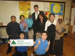 junior achievement of middle tennessee ja volunteer in a middle school classroom